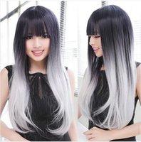 pelucas al por mayor-Cosplay Ombre peluca larga recta mujeres baratas peluca sintética moda pelo natural mujeres blanco y negro sin cordón sintético frente peluca 300g