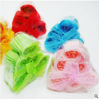 Wholesale Heart Soap Petals - (6PCS=one box)Washing Cleaning Bath Body Heart Rose Flower Paper Petals Soap Gift Organtic Wedding Gift Favor Mulit Color Soap