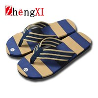 Wholesale Hot Men Flip Flops - Wholesale- Summer Men Flip Flops Slippers Beach Home Shoes Fashion Hot Sale Casual Striped Sandals Flat Sandalias Free Shipping ZMS0051 D7