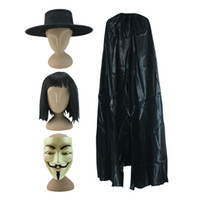 Wholesale Vendetta Clothing - v for vendetta costume v for vendetta halloween costume for men black warrior costumes carnival cosplay masquerade clothes