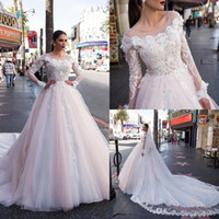 Milla Nova Brautkleider Langarm Erröten Rosa Spitze Appliqued Brautkleider Kapelle Zug Modest Custom Made Wedding Dress