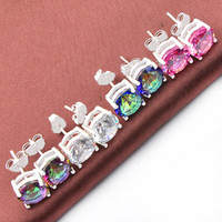 Wholesale Fire Topaz Earrings - Mix Color 4Pairs  Lot Classic Round Fire Mystic Topaz White Pink Zirconia Gems 925 Silver Stud Earrings for Wedding Party Holiday Gifts