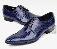 ingrosso abbigliamento scuro-Scarpe business da uomo in pelle stile italiano fatte a mano, punta tonda, alligatore marrone scuro, pantaloni casual, taglia 38-44