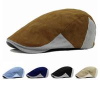 Wholesale Man Berets Hats - Adult Unisex Cotton Berets Cap Adjustable Stripe Patchwork Design Duckbill Newsboy Hat for Men Woman CS-113