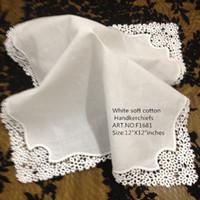 tekstil dantel toptan satış-12 Set Ev Tekstili Beyaz Bayanlar Mendil 12 inç Işlemeli tığ dantel kenarları hankies hankyFor Gelin Hediyeler