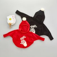 Wholesale Kids Black Hooded Sweater - 2017 kids clothes Autumn solid color rabbit ball hooded sweater