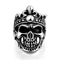 Gótico Vintage acero inoxidable King Skull Crown Anillos para hombres Clásico Cool Men's Jewelry Silver Gun Black Band Regalo de Halloween de varios tamaños