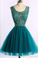 Wholesale Tulle Teal Dress - Teal Blue Short Homecoming Dresses Scoop Beads Crystal Tulle A Line Plus Size Party Prom Gowns Cockatil Custom Made