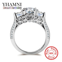Wholesale Unique Settings Engagement Rings - YHAMNI Genuine Pure Silver Wedding Rings For Women Unique Flower Shape Set Sona CZ Diamond Engagement Rings Fine Jewelry R066