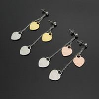Wholesale t studs resale online - Foreign trade jewelry T letter single drill hanging double heart heart color stud earrings K rose gold ladies earrings