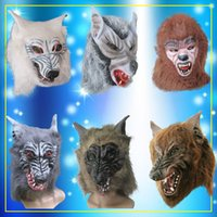 Wholesale Large Masquerade Props - Halloween masquerade masks werewolf werewolf mask headgear large red-brown wolf party props caps
