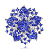 Grandes Red Blue Rhinestone Broches Wedding Bouquet Flores Broche de plata para las mujeres joyería de moda barata ropa Accessoris