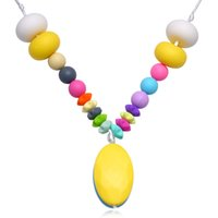 Wholesale Love Beautiful Baby - Women Beautiful Candy Colors Pendant Necklace Baby Chew Teething Silicone Necklace Fashion Bohemain Style Jewelry Star Pendant Accessories