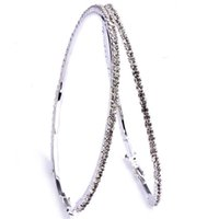 Wholesale Bamboo Crystal Rhinestone Earrings - 32-80mm 5 Sizes Big Clear Crystal Circle Round Charm Bamboo Hoop Earrings Fashion Jewelry For Women