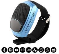 mãos de relógio inteligentes livres venda por atacado-B90 Relógios Inteligentes Cronômetro Despertador Esportes Música Assista Hands-free FM Rádio Temporizador Anti-Perdido Alarme Bluetooth Speaker