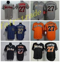 Wholesale Black Marlin - Miami Marlins 27 Giancarlo Stanton Jersey Cooperstown Vintage Baseball Jerseys Flexbase Cool Base Pullover Button White Grey Green Cream