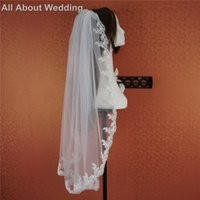 Wholesale Yarn Lace - One Layer Lace Bridal Veil Wedding Hair Accessories Real Photo Factory Custom Make 98cm Long with Comb White Ivory