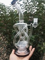 Wholesale Water Arts - BONG! HourGlass bong Recycler water pipe High quality Oil Rigs Hybrid Two function Hand make glass art built in claim catchers