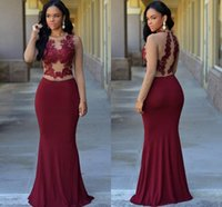 Wholesale Yellow Acrylic Jewels - Long Sleeves Burgundy Formal Evening Dresses 2016 Jewel Appliques Mermaid Long Modest Plus Size Arabic Prom Party Pageant Gowns For Woman