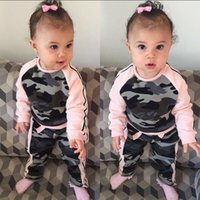 Wholesale Children S Jumpers - 2016 Autumn Children Clothes Camouflage Clothing Sets Baby Girl Pink Long Sleeve Jumper Top +Matching Long Pants Two Piece Sets