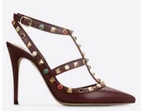 Wholesale Women White Pointy Shoes - b112 genuine leather 40 41 42 nude black red green burgundy brown gem pointy strap heels 10cm pumps shoes fashion luxury designer v