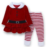 roupas de natal para crianças venda por atacado-Natal Crianças Meninas Roupas Corduroy Quente 2017 Inverno Papai Noel Red Petal Top + Pant 1-6 T Livre FEDEX grátis
