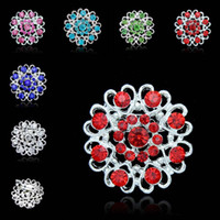 Wholesale Red Heart Rhinestone Brooch - Rhinestone Brooch Crystal Heart Love Flower Brooches Pins Corsage for Women Men Silver plated Wedding Jewelry Drop Shippping