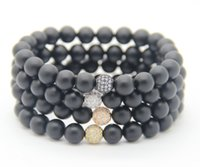 Atacado 8 milímetros Black Matate Agate Stone Beads com Micro Pave Cubic Zirconia Ball High Grade Fashion Jewelry Bracelet