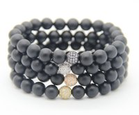 Vente en gros 8mm Black Matate Agate Stone Beads avec micro pavé Cubic Zirconia Ball High Grade Fashion Jewelry Bracelet