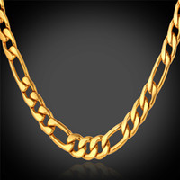 Wholesale Gold Asian - U7 Classic Figaro Cuban Link Chain Necklace 18K Real Gold Plated 316L Stainless Steel Fashion Men Jewelry Accessories Punk Style