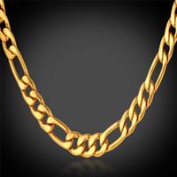cadena de oro de 18k estilos. al por mayor-U7 Classic Figaro Cuban Link collar de cadena 18 K oro verdadero plateado / acero inoxidable 316L moda hombres joyería accesorios estilo punk