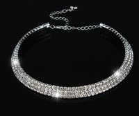 Wholesale Women Necklace Row - New Hot Sale Women Crystal Rhinestone Collar Necklace Choker Necklaces Wedding Birthday Jewelry 1 2 3 4 5 Row