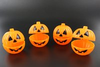 Wholesale Halloween Pumpkin Bucket - Orange Pumpkin Bucket With Cover Halloween Smile Pumpkin Props Easy To Carry Candy Case Multi Function 1 9zl B R