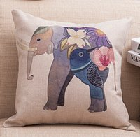 "Wholesale Vintage Flower Throw - Cotton Linen Throw Cushion Pillows Core Included Vintage Square Flower Elephant Back Cushions for Sofa Ornament Home Decor Textiles 18""X18"""
