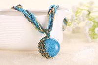 Wholesale Turquoise Glass Beads Wholesale - Hot Peacock Turquoise Pendant Necklace Jewelry Ethnic Women Bohemian Beads Natural Stone Multilayer Jewelry Chain Turkish necklace