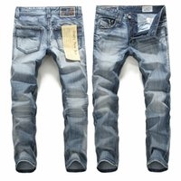 Wholesale Trouser Style For Mens - Mens fashion jeans light blue cotton jeans for man casual straight cowboy jeans trousers for man male wholesale