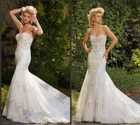 Wholesale Eve Milady Dresses - 2016 Gorgeous Eve of Milady Mermaid Wedding Dresses with Crystal Court Train Ivory Lace Vestido De Novia Sexy Back Bridal Gowns