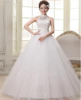 Wholesale Modern Wedding Dress Patterns - 2016 New Style White Lace Halter Wedding Dress The Hollow Pattern Flowers Sequin Ball Gown Backless Bride Dress Vestido De Noiva