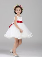 Wholesale Ems Free Chiffon - Chiffon Flower Girls Dresses With 4 Color Belt Ball Gown Ruffles Tulle Pageant Dresses for Girl Dresses for Wedding EMS   DHL Free