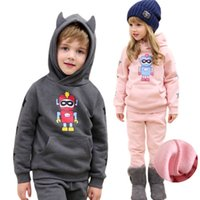 Wholesale Baby Fleece Hoodies - 2017 autumn winter baby girls boys clothing set children kids hoodies pants thicken warm fleece clothes robot boys girls sets