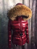 Wholesale Winter Coats Fashion Ladies Fur - Fashion Big Fur Collar Women Down Coat Quality M Brand Design Ladies Down Jacket Winter Warm Parkas With Waistband