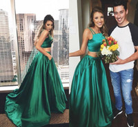 Wholesale Special Occasion Dresses Strapless - Hunter Green Two Pieces Prom Dresses 2017 Spaghetti Strapless A Line Long With Pockets Evening Gowns Sweep Train Special Occasion Dresses