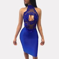 Blue Perspective Hollow Out Vestito da cocktail Vestito senza maniche Sleeveless Backless Vestito Midi Bodycon Vestiti da party serali del pannello di pizzo floreale LJG0716
