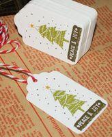 etiquetas artesanales al por mayor-Etiquetas de papel con la cadena DIY Craft Label Party Favor Christmas Decoration Hanging Ornaments