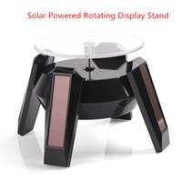güneş enerjili ekranlı döner stand toptan satış-Güneş Enerjili Dönen Ekran Standı Açın Için Turntable Platformu Mücevherat Kol Cep telefonu Kamera diplay