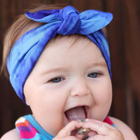 Wholesale Tie Headband Purple - 2016 New Cotton Baby Infant Top Knot Headband Cute Girls Tie-dye Hairband Girl Turban Rabbit Ears Headband Baby Hair Accessories