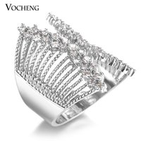 Wholesale Metal Punk Ring - VOCHENG CZ Stone 2 Colors Plating Punk Style Copper Metal Ring for Women VR-135