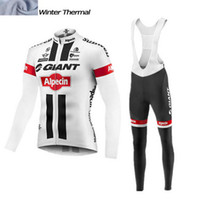 Wholesale Cycling Jersey White Pants Long - 2016 GIANT Men Winter thermal Fleece cycling clothing long sleeve Pro cycling jersey  bib long pants winter cycling clothes white black