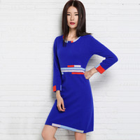 Wholesale Ladies Cashmere Pullover - Wholesale-2016 New Women Sweater Cashmere Knitted Winter Warm Dress for ladies Long Woolen Pullover Hot Sale Woman clothes