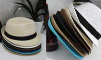 Wholesale Soft Straw Hats Wholesale - New Vogue Men Women Straw Hats Soft Fedora Panama Hats Outdoor Stingy Brim Hats Colorful Colors to chose